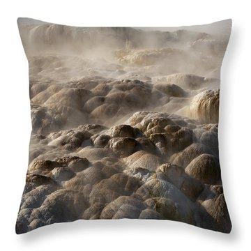 Throw Pillow featuring the photograph Yellowstone Steam by J L Woody Wooden