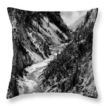 Yellowstone Waterfalls In Black And White Throw Pillow