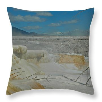 Yellowstone's Canary Springs Throw Pillow by Bruce Gourley