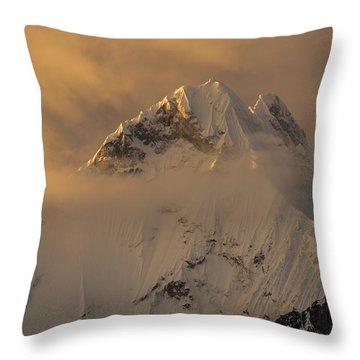 Yerupaja Summit Ridge 6617m At Sunset Throw Pillow by Colin Monteath