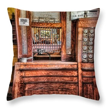 Yesterday's Post Office Throw Pillow by Susan Candelario