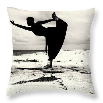 Yoga Balance Throw Pillow by Stelios Kleanthous