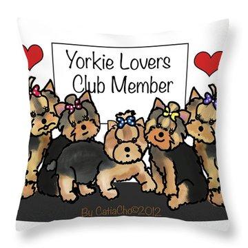 Yorkie Lovers Club Member Throw Pillow