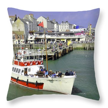 Yorkshire Belle Turning In Bridlington Harbour Throw Pillow by Rod Johnson