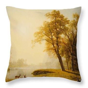 Yosemite Valley Throw Pillow by Albert Bierstadt