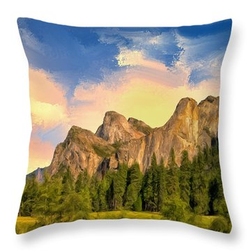 Yosemite Valley Morning Throw Pillow by Dominic Piperata