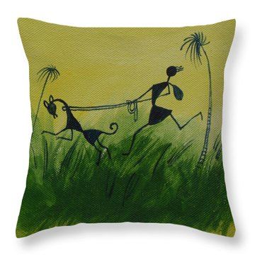 You En I In This Beautiful World Throw Pillow by Chintaman Rudra