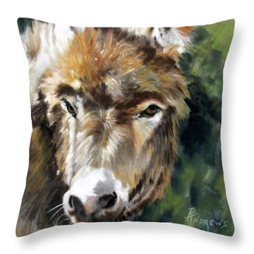 Throw Pillow featuring the painting You Want To Pin The Tail On The What by Rae Andrews