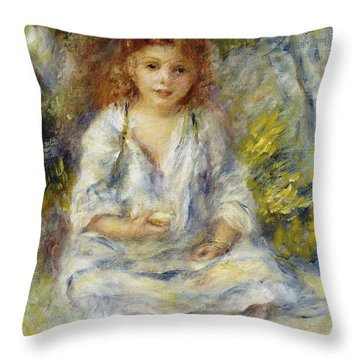 Young Algerian Girl Throw Pillow by Pierre Auguste Renoir