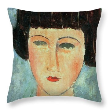 Young Brunette Throw Pillow by Modigliani
