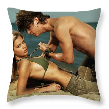 Young Couple On The Beach Throw Pillow by Oleksiy Maksymenko