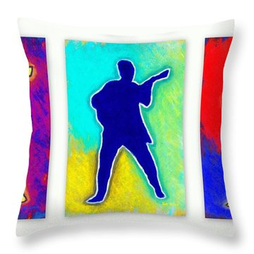 Young Elvis Presley 3 Image Collage Throw Pillow