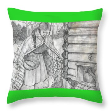 Young Girl Feeding The Chickens In The 1800's Throw Pillow
