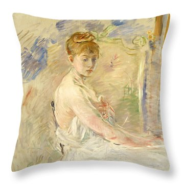 Young Girl Getting Up Throw Pillow by Berthe Morisot