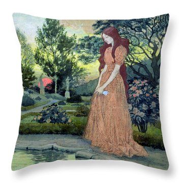 Young Girl In A Garden  Throw Pillow by Eugene Grasset