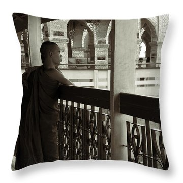 Young Monks In Mandalay Hill Throw Pillow by RicardMN Photography