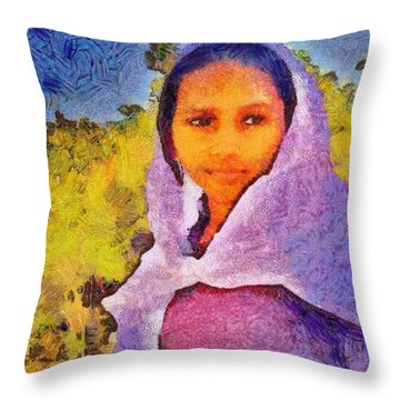 Young Moroccan Girl Throw Pillow