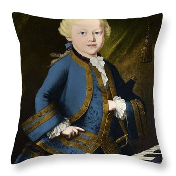 Young Wolfgang Amadeus Mozart, Austrian Throw Pillow by Omikron