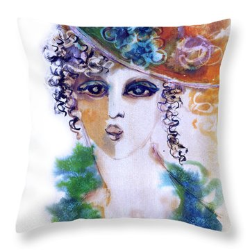 Young Woman Face With Curls In Blue Green Dress Purple Hat With Flower  Throw Pillow