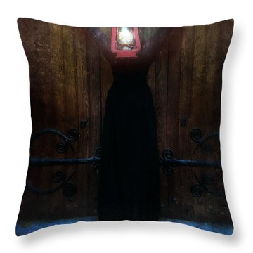 Young Woman In Black Lantern In Front Of Her Face Throw Pillow by Jill Battaglia
