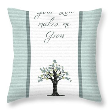 Your Love Makes Me Grow Throw Pillow by Aimelle