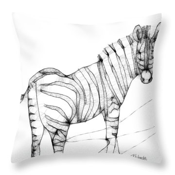 Zebra Doodle Throw Pillow by Arline Wagner