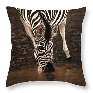 Throw Pillow featuring the painting Zebra by Karen Zuk Rosenblatt