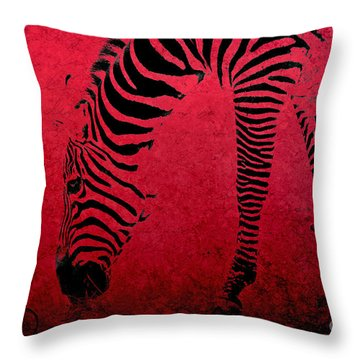 Zebra On Red Throw Pillow by Aimelle