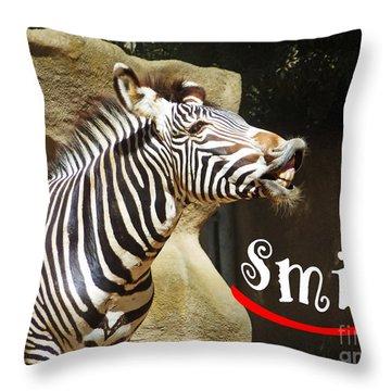 Zebra Smile Throw Pillow by Methune Hively