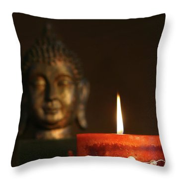 Zen Candle And Buddha Statue Throw Pillow by Sandra Cunningham