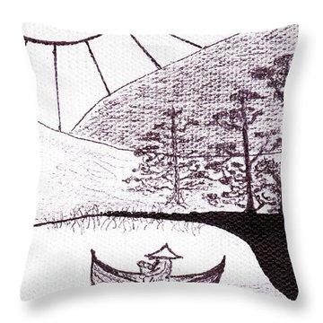 Zen Sumi Asian Lake Fisherman Black Ink On White Canvas Throw Pillow