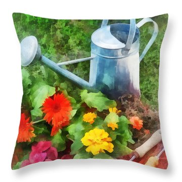 Zinnias And Watering Can Throw Pillow by Susan Savad