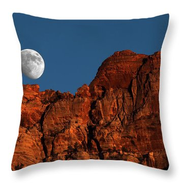 Zion Moonrise Throw Pillow by David Yunker