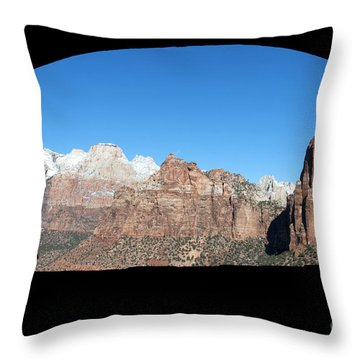 Throw Pillow featuring the photograph Zion Tunnel View by Bob and Nancy Kendrick