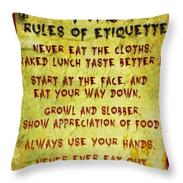 Throw Pillow featuring the digital art Zombie Etiquette by Nada Meeks