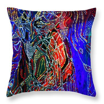 Throw Pillow featuring the painting Zulu Bride by Gloria Ssali