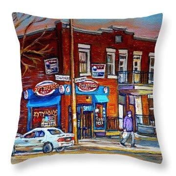 Zytynsky's Deli Montreal Throw Pillow by Carole Spandau