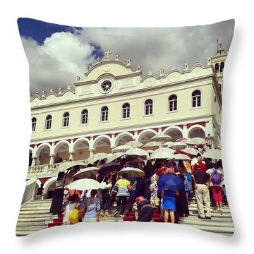 Mass Pilgrimage Throw Pillow