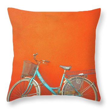Blue Bike In Burano Italy Throw Pillow
