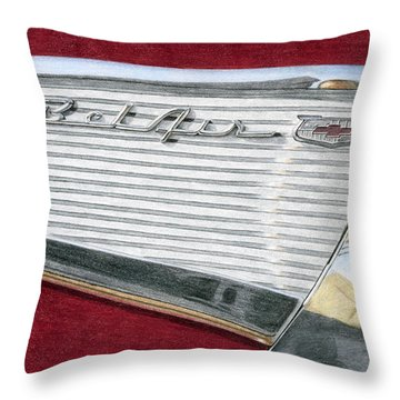 1957 Chevrolet Bel Air Convertible Throw Pillow by Rob De Vries