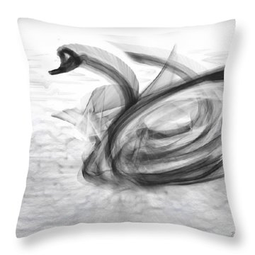 'a Fabric-ated Swan Melody ' Throw Pillow