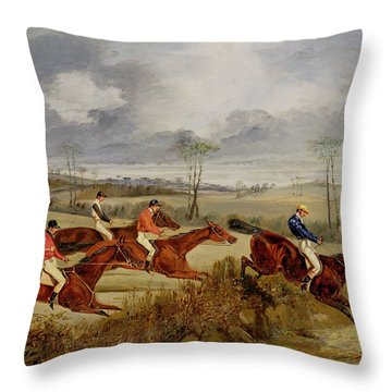A Steeplechase - Near The Finish Throw Pillow by Henry Thomas Alken