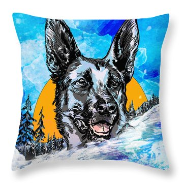 Throw Pillow featuring the drawing  Alsatian by Andrzej Szczerski