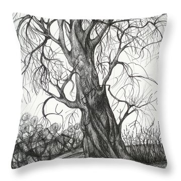 Throw Pillow featuring the drawing  Autumn Dancing Tree by Anna  Duyunova