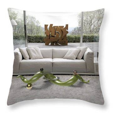 ' Azteca Scape ' And 'a Twisted Table ' Throw Pillow