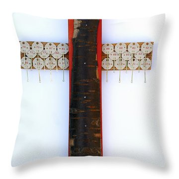 Bark Cross With Key Tags Throw Pillow