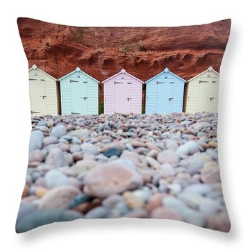 Beach Huts And Pebbles Throw Pillow