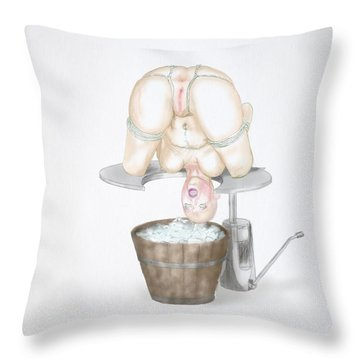 Throw Pillow featuring the mixed media  Behavior Control by TortureLord Art