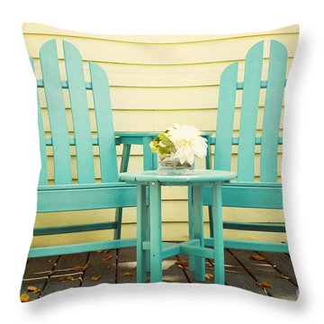 Blue Adirondack Chairs  Throw Pillow