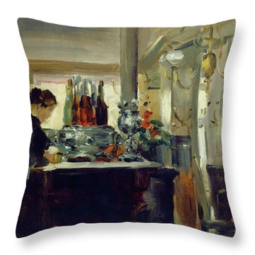 Bon Bock Cafe Throw Pillow